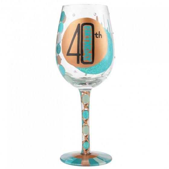 40th Birthday Wine Glass