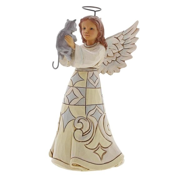 Faithful Friend (White Woodland Angel with Cat Pint-Sized Fi
