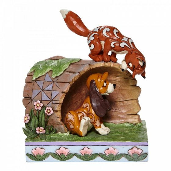 Unlikely Friends - Fox and Hound Log Figurine