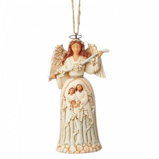 White Woodland Nativity Angel (Hanging Ornament)
