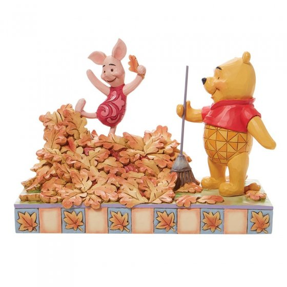 Jumping into Fall - Piglet and Pooh Autum Leaves Figurine