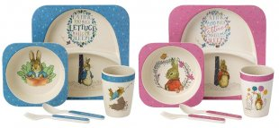 New…Eco-friendly Peter Rabbit™ and Flopsy Bunny™ Bamboo Dinner Sets