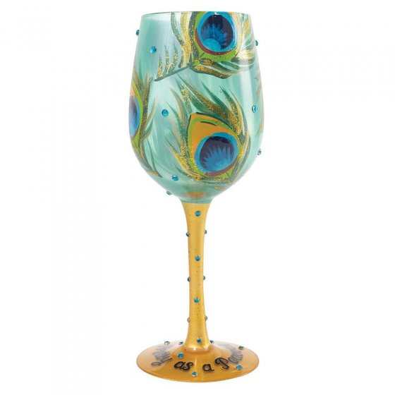 Pretty As A Peacock Wine Glass
