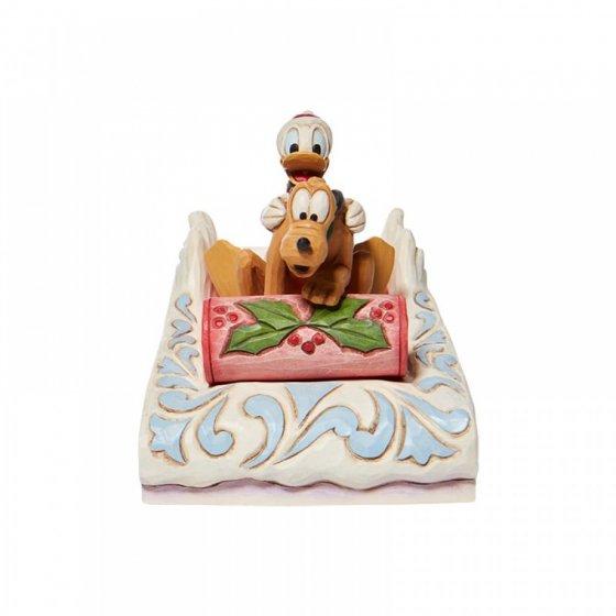 A Friendly Race - Donald & Pluto Sledding Figurine