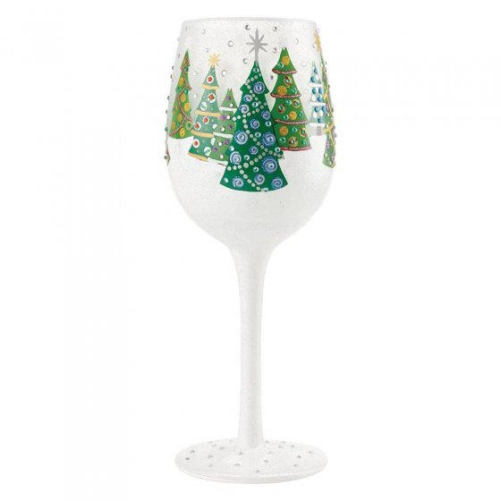 Christmas Trees in the Snow Wine Glass