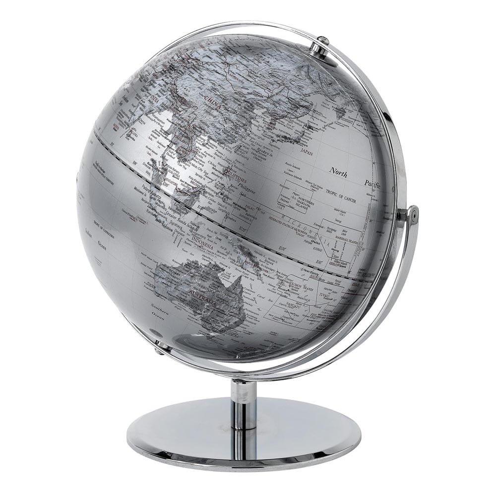 Silver globe 30cm enesco - Globo terraqueo amazon ...