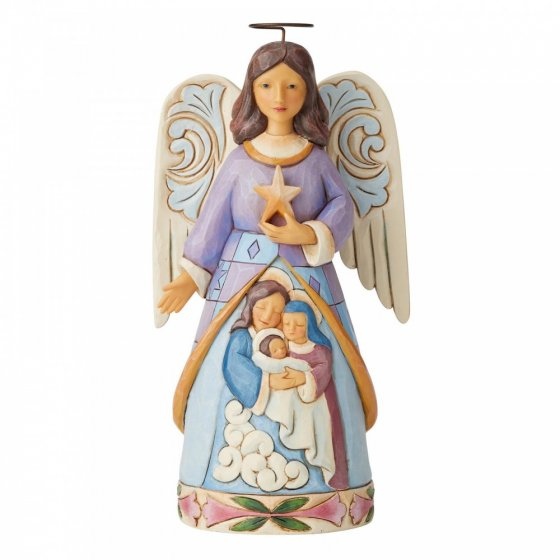 Starlit Serenity (Angel with Holy Family Figurine)