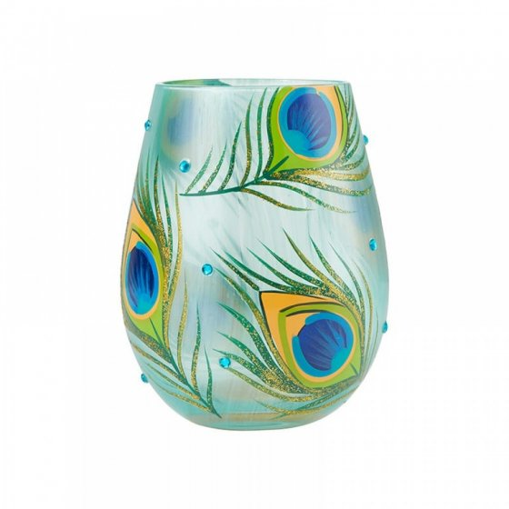 Peacock Stemless Glass by Lolita