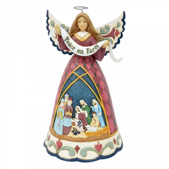 A Saviour Is Born (Nativity Angel w/Peace on Earth Banner)