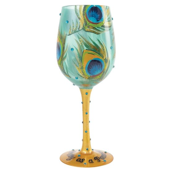 Pretty As A Peacock Wine Glass