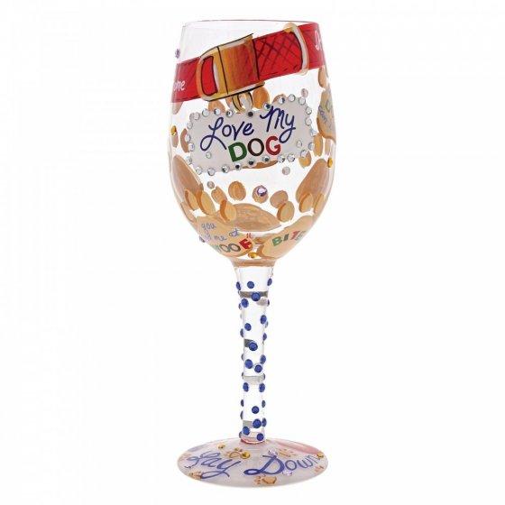 FS Love my Dog Wine Glass