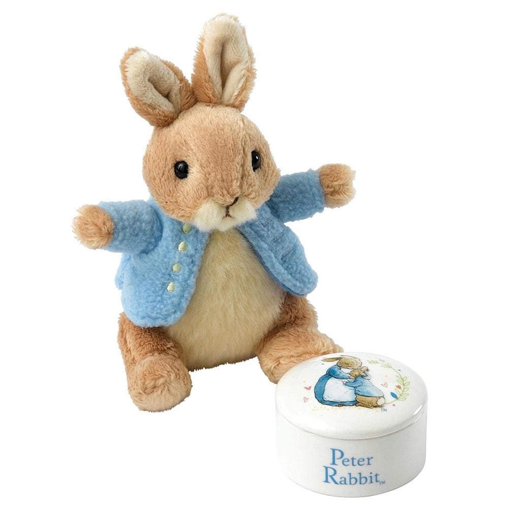 Peter Rabbit Baby Gift Sets : Peter rabbit trinket box and soft toy gift set enesco