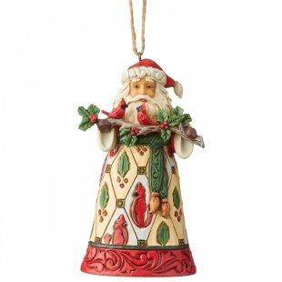 Santa with Cardinals (Hanging Ornament)