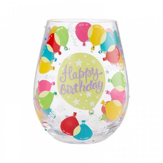 Birthday Balloons Stemless Glass by Lolita