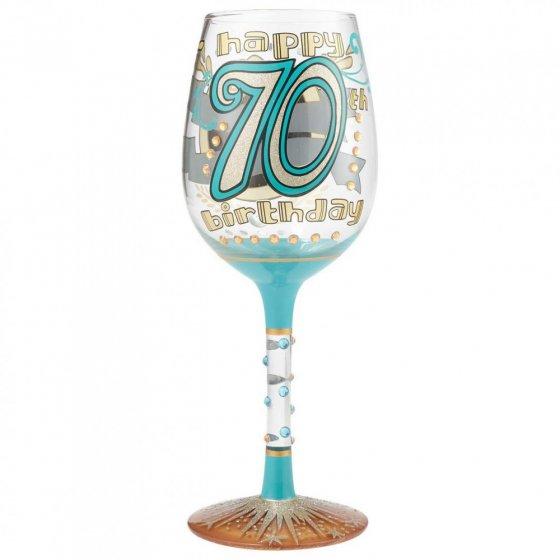 70th Birthday Wine Glass