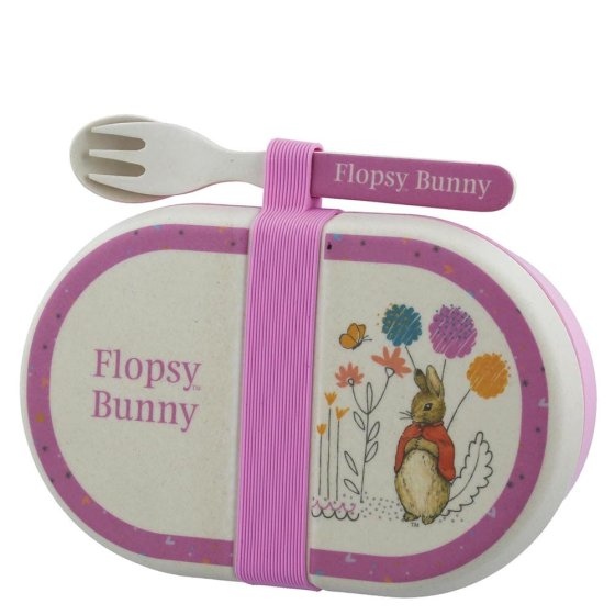 Flopsy Bamboo Snack Box with Cutlery Set