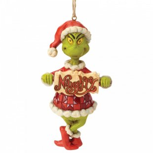 Grinch Naughty or Nice Sign Hanging Ornament