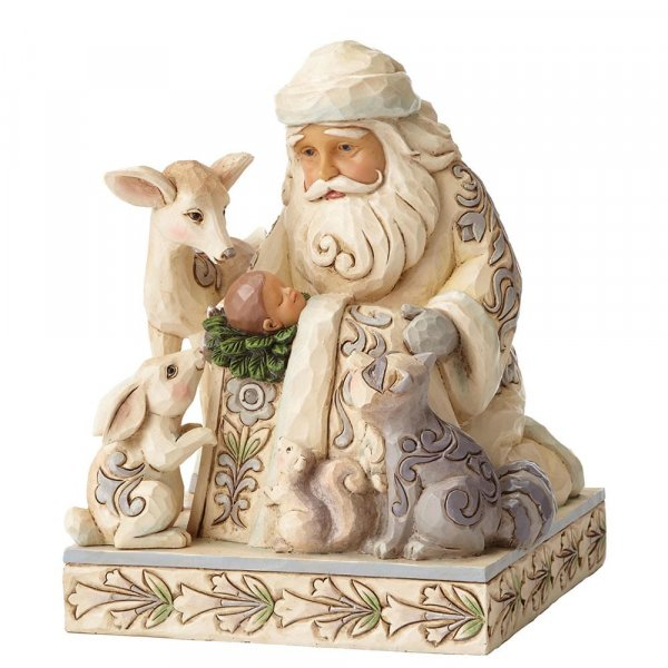 Miracle In The Moonlight White Woodland Santa With Baby