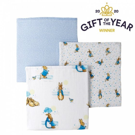 Peter Rabbit Baby Collection Muslin Squares (set of 3)