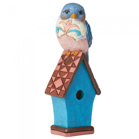 Bluebird on Birdhouse Mini Figurine