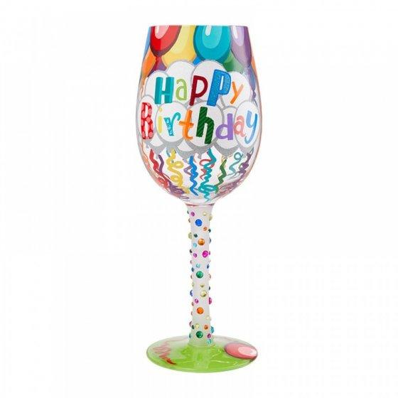 Birthday Streamers Wine Glass by Lolita